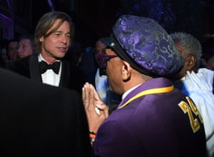 Brad Pitt and Spike Lee at the Vanity Fair party.
