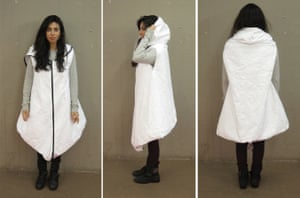the Royal College of Art students' 'wearable dwelling', made from Tyvek.