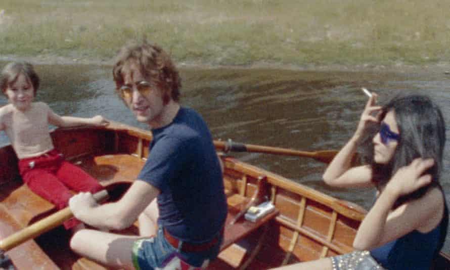 John and Yoko, with Julian Lennon, rowing on the lake at Tittenhurst, 17 July 1971.