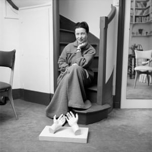 Simone de Beauvoir in her dressing gown in 1957.