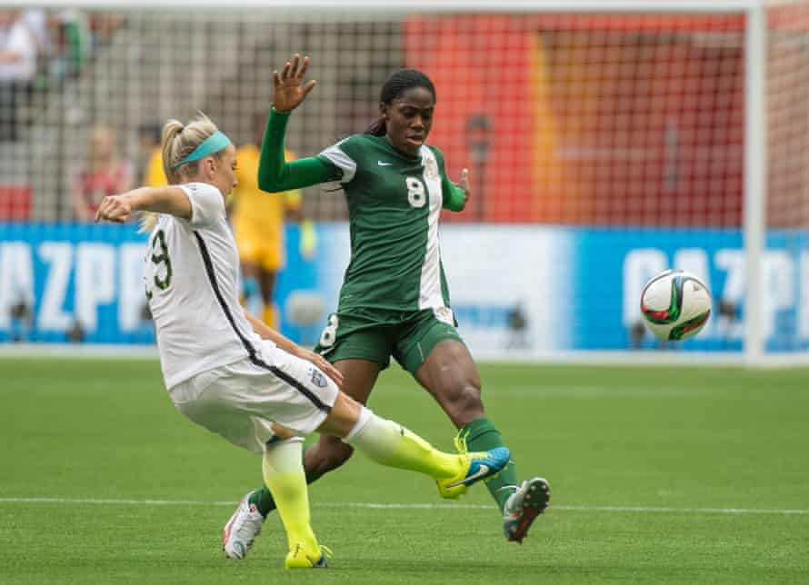 Asisat Oshoala in action during the 2015 World Cup. Nigeria's leading player now plays for Barcelona.