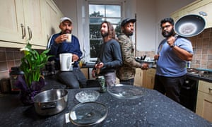 Masai Graham, Jay Handley, Darren Harriott and Eshaan Akbar in their Edinburgh rental flat.