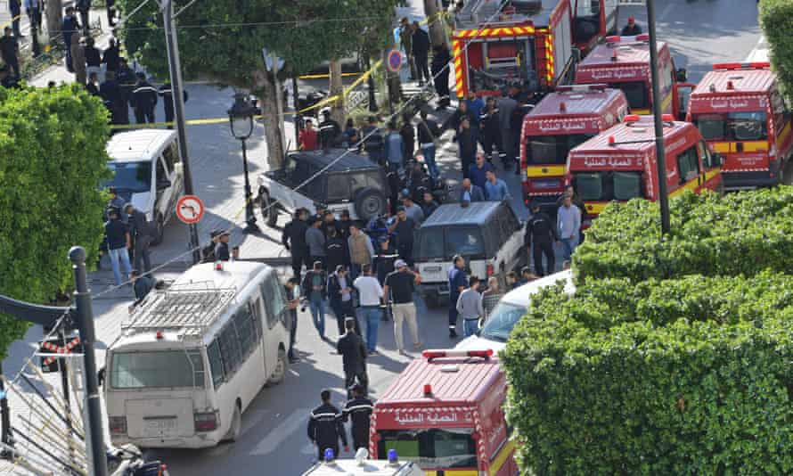 Emergency services at the scene of the blast in Tunis.