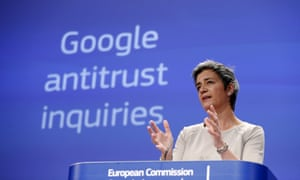 Margrethe Vestager in Brussels over the charges against Google.