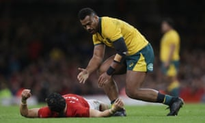Samu Kerevi reacts after taking out Leigh Halfpenny during Wales's victory over Australia.