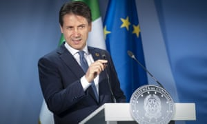 The Italian prime minister, Giuseppe Conte, at the EU Summit in Brussels.