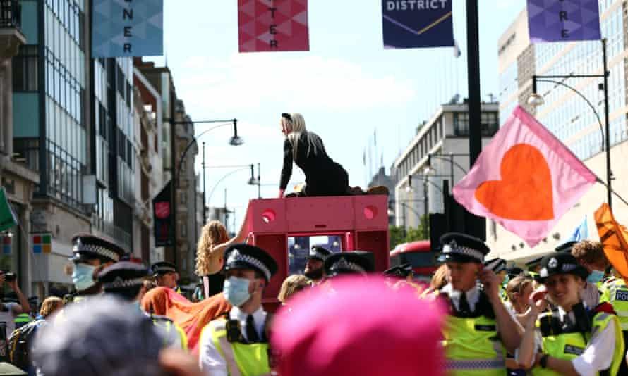 Extinction Rebellion activists occupy London's Oxford Circus.