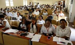 University students sitting at desks
