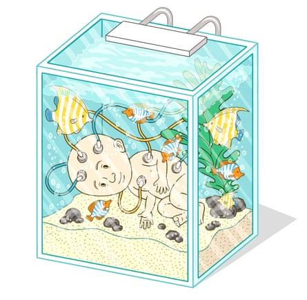 baby in a fish tank