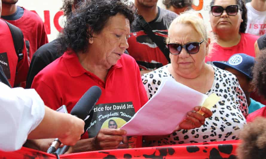 Leetona Dungay, the mother of David Dungay Jr who died in Long Bay jail on 29 December 2015, addresses a crowd near the NSW Department of Corrective Services in Sydney on Thursday.