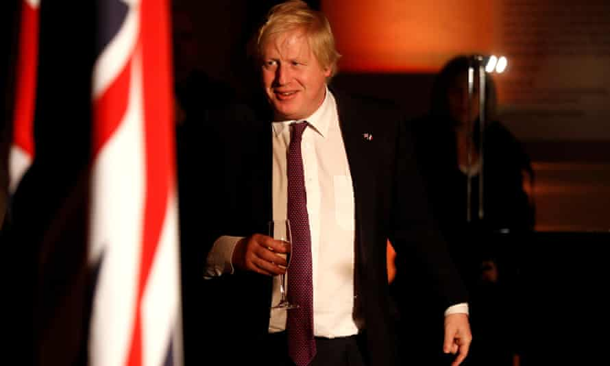 Boris Johnson at an official dinner at the V&A museum, London, following talks with France.