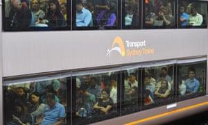 People on a Sydney train