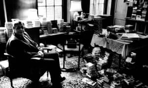 Edward Greenfield surrounded by CDs