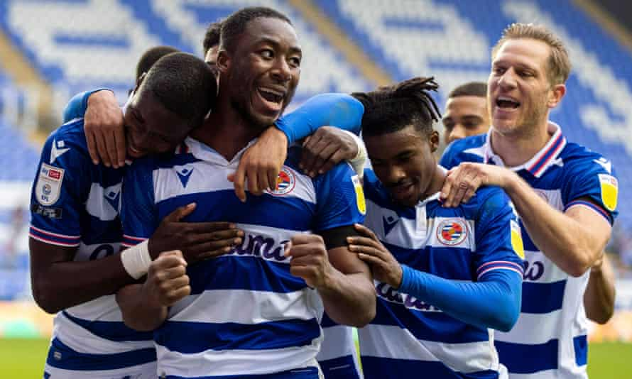 Lucas Joao (left} of Reading FC celebrates his goal with Yakou Meite to put Reading 3-1 up against Bristol City.