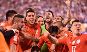 Chile celebrate after winning the Copa América title on penalties