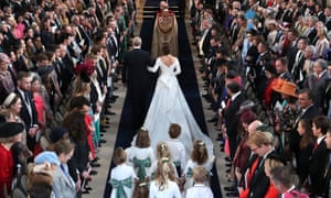 Here comes the bride: Prince Andrew walks Eugenie down the aisle