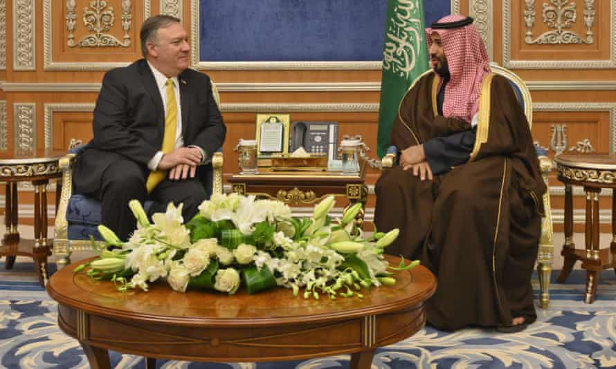 Mike Pompeo and Mohammed bin Salman pictured in Riyadh on 14 January.