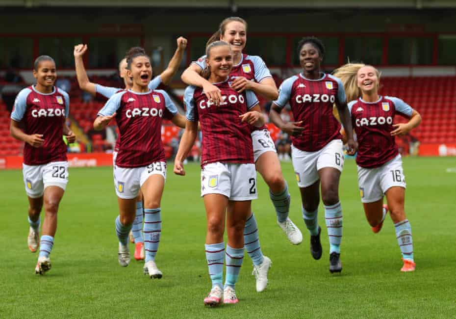 Sarah Mayling (centre) takes the acclaim of her Aston Villa teammates after her fine equaliser.