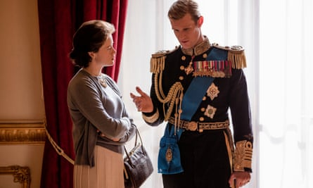 Netflix The Crown with Claire Foy as the the Queen and Matt Smith as Prince Philip