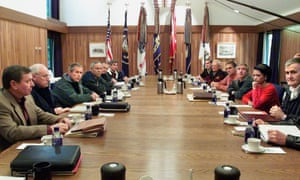George Bush meets with top US officials, including Mueller, on 15 September 2001 at Camp David, Maryland.