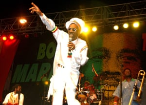 Bunny Wailer sings the songs of Bob Marley at the One Love concert to celebrate Marley's 60th birthday, n Kingston, Jamaica in 2005