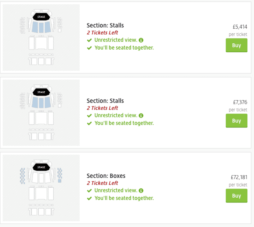 Screenshot of tickets on Viagogo for Michelle Obama's talk