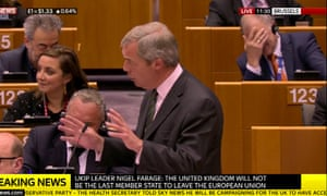 Nigel Farage speaking in the EU with  Vytenis Andriukaitis in the background