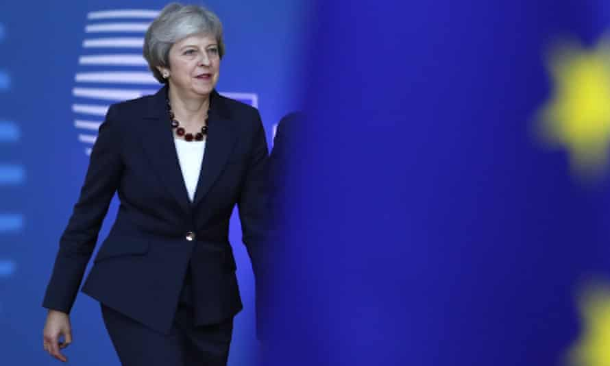 Theresa May arrives for an EU summit in Brussels.