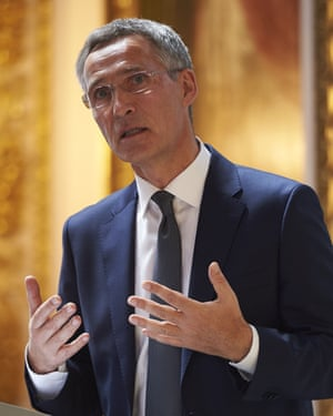 Jens Stoltenberg delivering his pre-summit address in London.