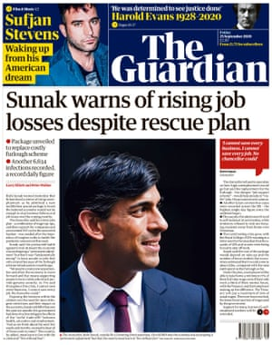 Guardian front page, Friday 25 September 2020