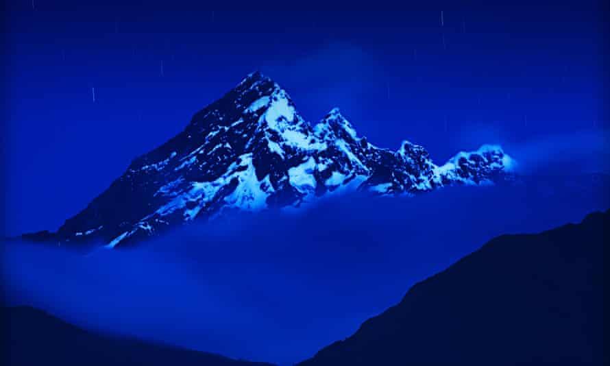 El Altar, an extinct volcano in Ecuadorian Andes at night