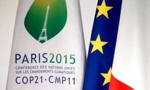 """A COP21 summit flag is seen during the """"France is committed to climate. Go COP21 !"""" event at the Elysee Palace in Paris, France, September 10, 2015."""