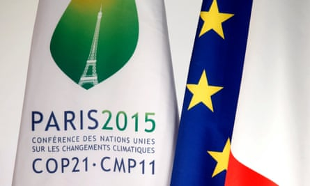 "A COP21 summit flag is seen during the ""France is committed to climate. Go COP21 !"" event at the Elysee Palace in Paris, France, September 10, 2015."
