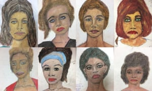 Drawings by Samuel Little, based on his memories of some of his victims.