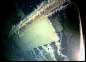The rear of HMAS AE1's fin broken away from its footings.