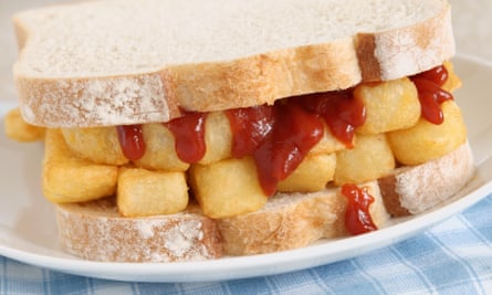 A chip butty with tomato ketchup