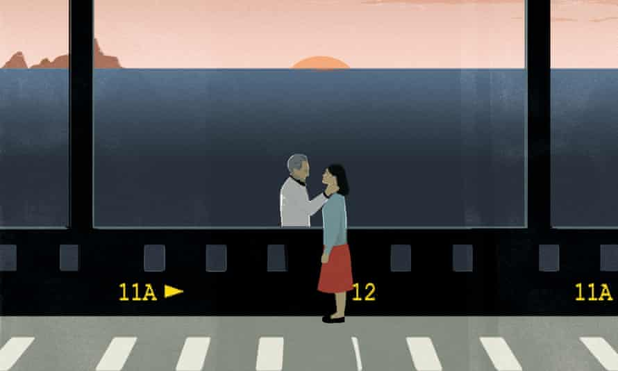 Illustration of a couple in a film still