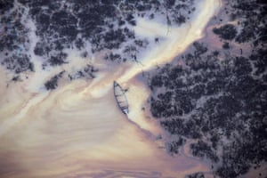 Oil on the water in Ogoniland, outside Port Harcourt, in Nigeria's Delta region in Aug 2011.