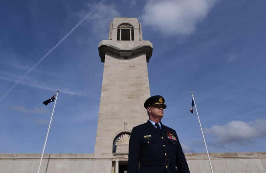 Outgoing defence force chief Mark Binskin tours the Australian National Memorial at Villers-Bretonneux.