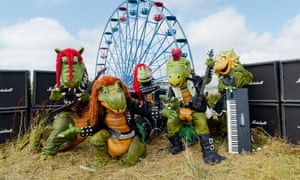 the Hevisaurus dinosaur band at London's Imagine festival