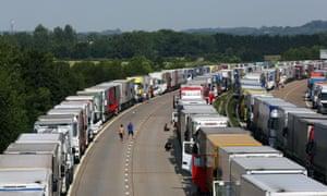 Lorries queueing on the M20 in Ashford, Kent