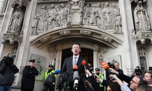 The attorney General Jeremy Wright delivers a statement to waiting media outside the Supreme Court in London.