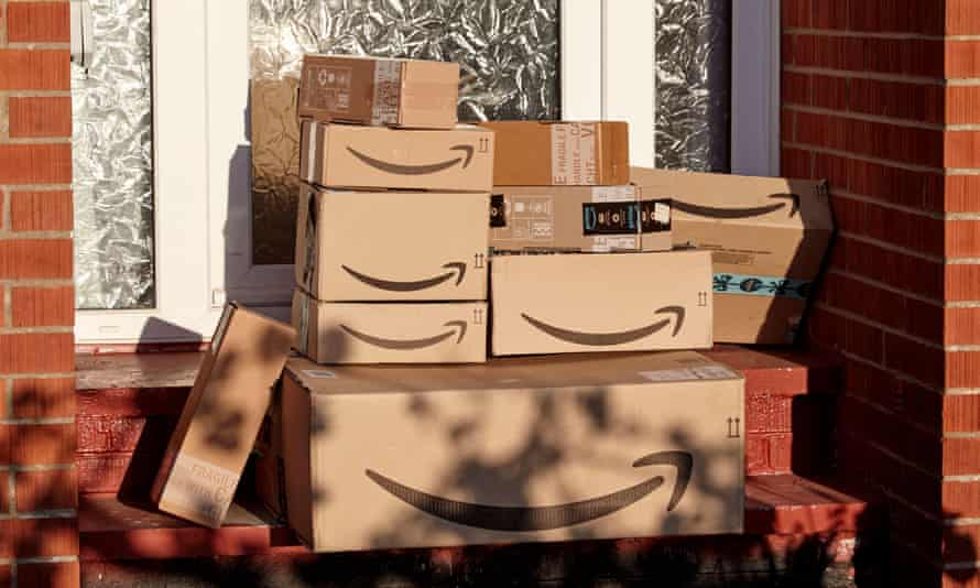 Amazon deliveries left on doorstep of house during Covid-19 lockdown