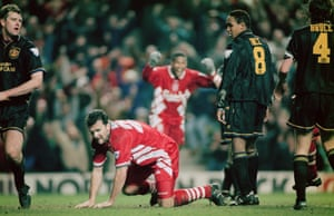 Neil Ruddock prepares to celebrate after competing Liverpool's comeback to draw 3-3 with Manchester United in January 1994.