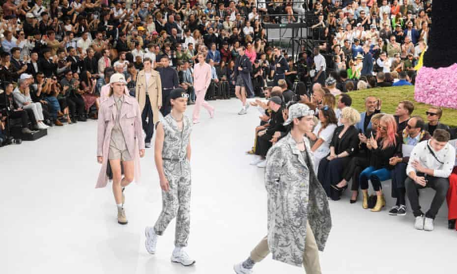 Models walk the runway during the finale of Jones's Dior Men show.