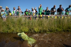 A competitor takes part in the World Bog Snorkelling Championships at Waen Rhydd peat bog near Llanwrtyd Wells in mid-Powys, Wales.