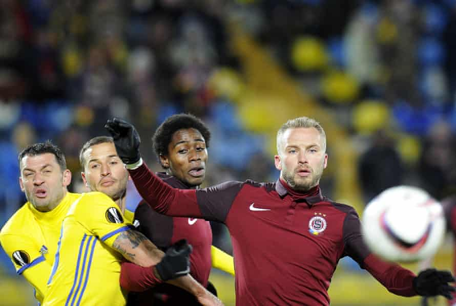 Sparta Prague's Tiemoko Konate and Michal Kadlec fight for the ball in their Europa League match against FC Rostov