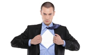Superhero businessman opening blue shirt blank white t-shirt underneath