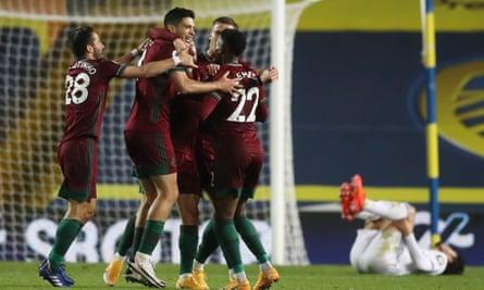 Rául Jimenéz of Wolves celebrates after his deflected shot finds the net to settle the Premier League encounter at Leeds