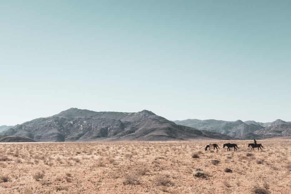 Horsewoman Telane Greyling rides alongside two loose horses on a Namib desert ride.